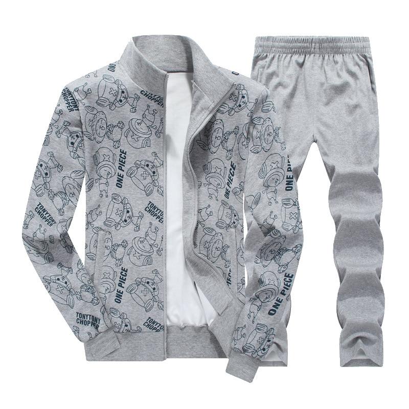 2018 Lente Herfst Nieuwe Sportkleding Mannen Set Trainingspak Cartoon Print Sweatsuit + Broek Mannen Casual Sporting Suits 6XL 7XL 8XL-in Setjes voor Mannen van Mannenkleding op  Groep 3