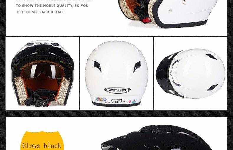 Zeus 381c 3 4 capacete da motocicleta