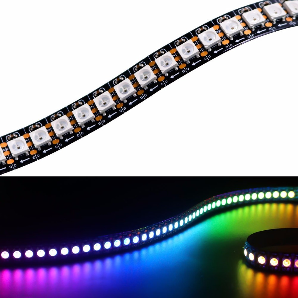 LED Fast Shipping Wholesale 1M 5050 RGB 144 LEDs WS2812B Chip WS2811 Digital RGB LED Strip Light 144 Pixel DC5V