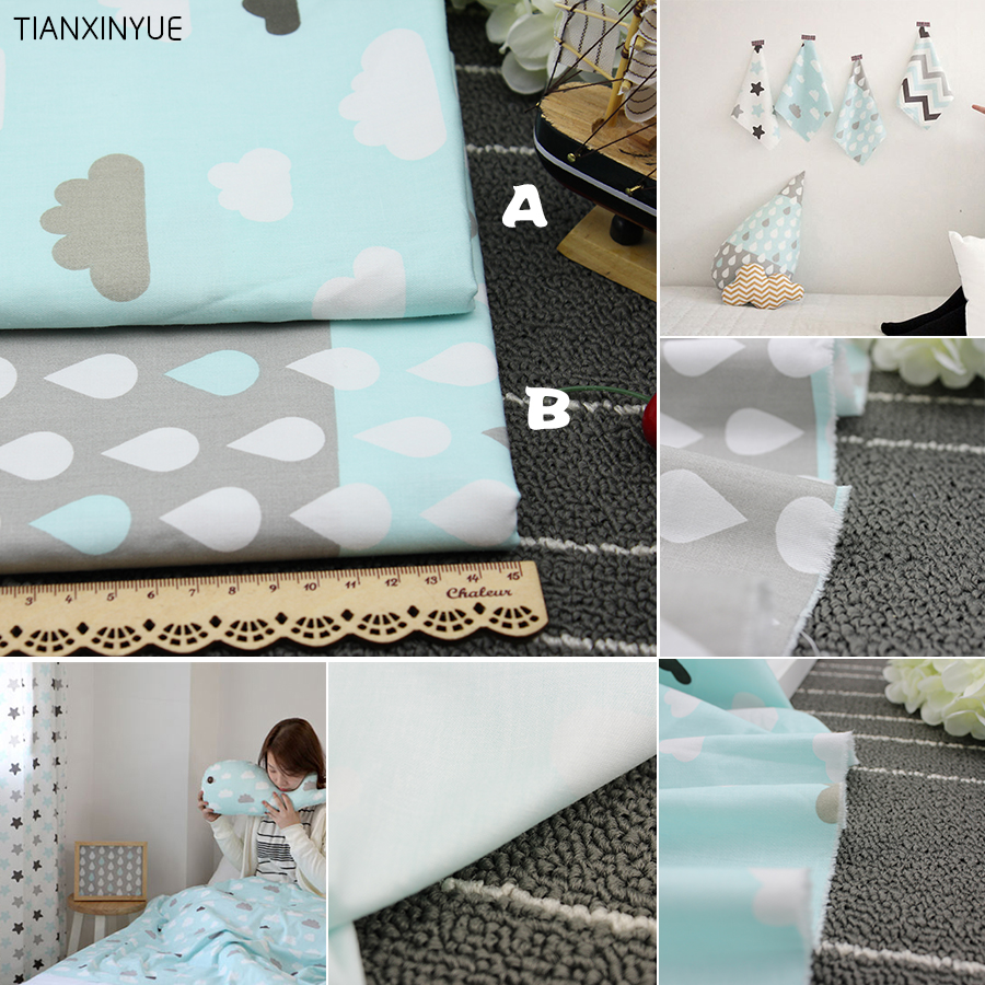 TIANXINYUE twill 100% cotton fabric blue clouds and raindrops cloth DIY baby pillow patchwork Sewing quilting fabric