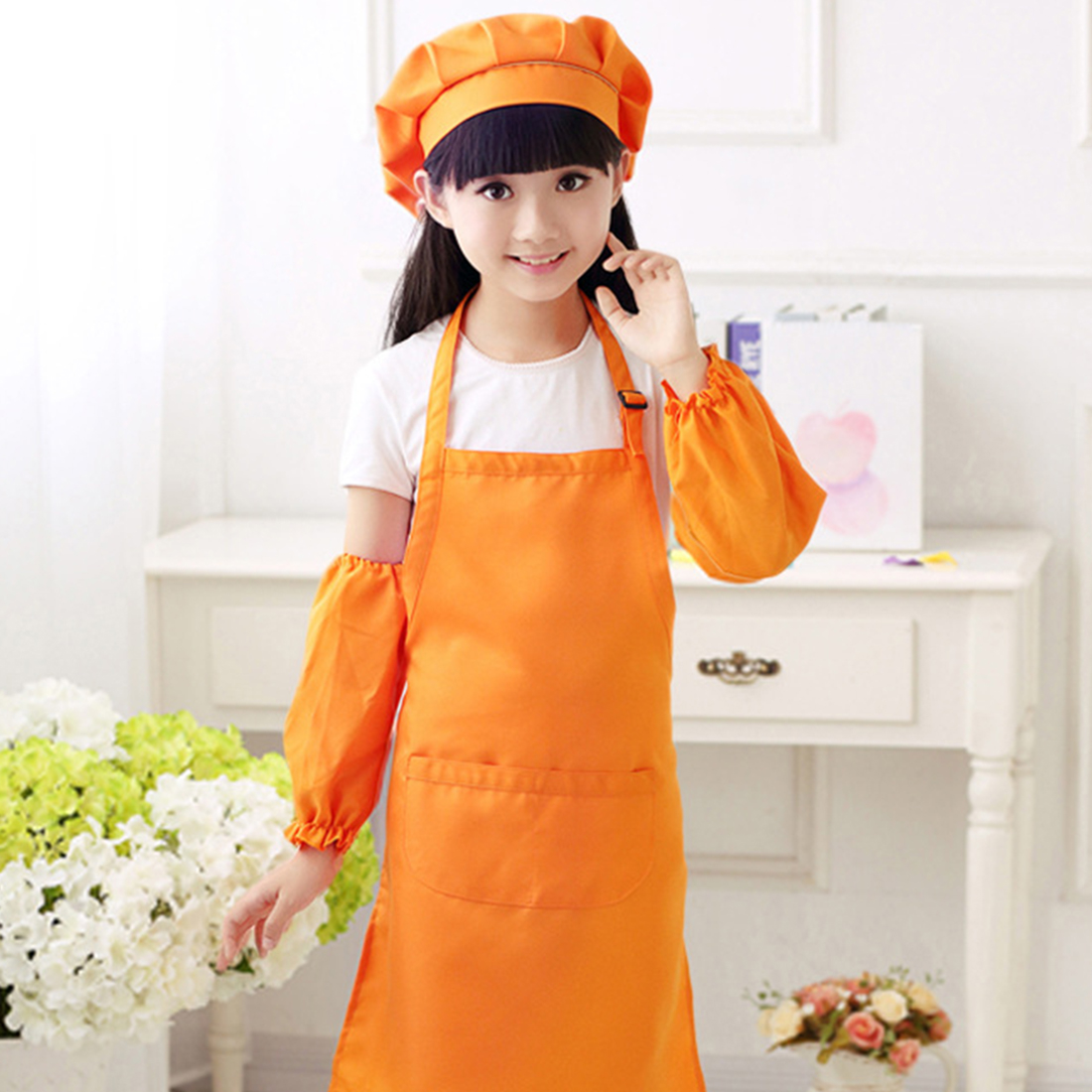 Children Play & Pretend Apron Set Kitchen Pastry Chef Clothing Apron With Hat