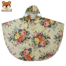Keconutbear Raincoat For Children Kids Waterproof Rain Coat Peony Flower Girls Lightweight Poncho Childs
