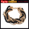 Bohemia Statement Crystal Beads Mix Golden Cotton Rope Chain Chunky Golden Thick Tassel Bangle Bracelets for Women Man Wholesale