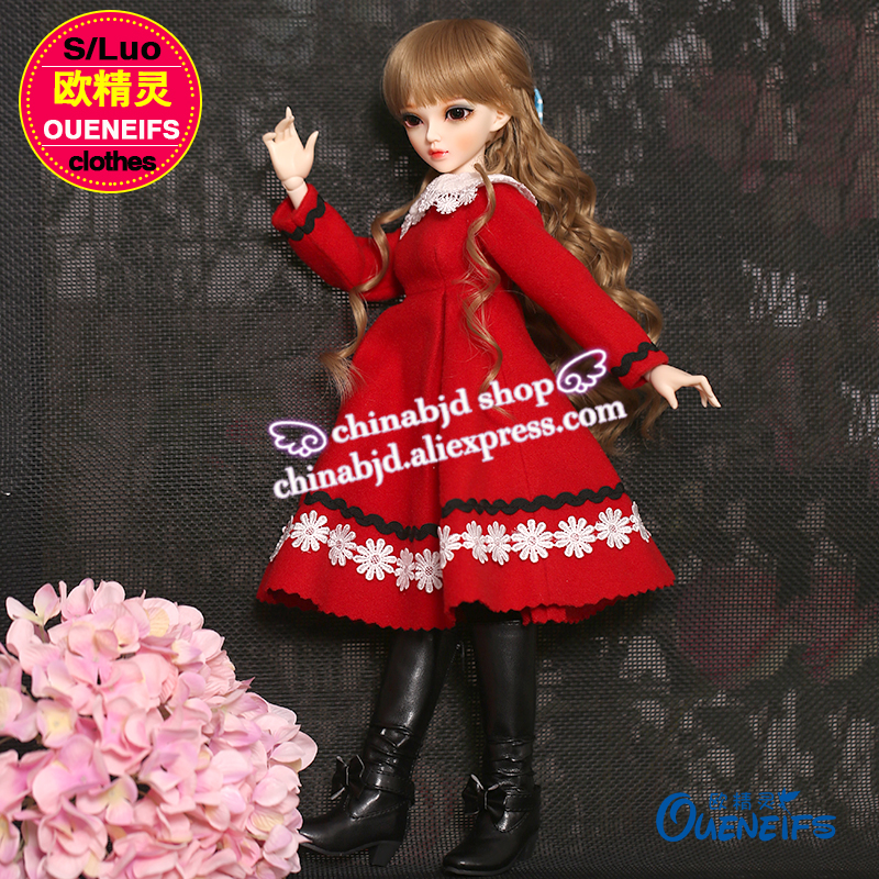 OUENEIFS free shipping baby long red Winter skirt lacework send socks luts volks iplehouse switch , 1/4 bjd sd doll clothes