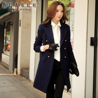 original wool overcoat long 2017 women's autumn and winter korean military style double breasted handsome coat women wholesale