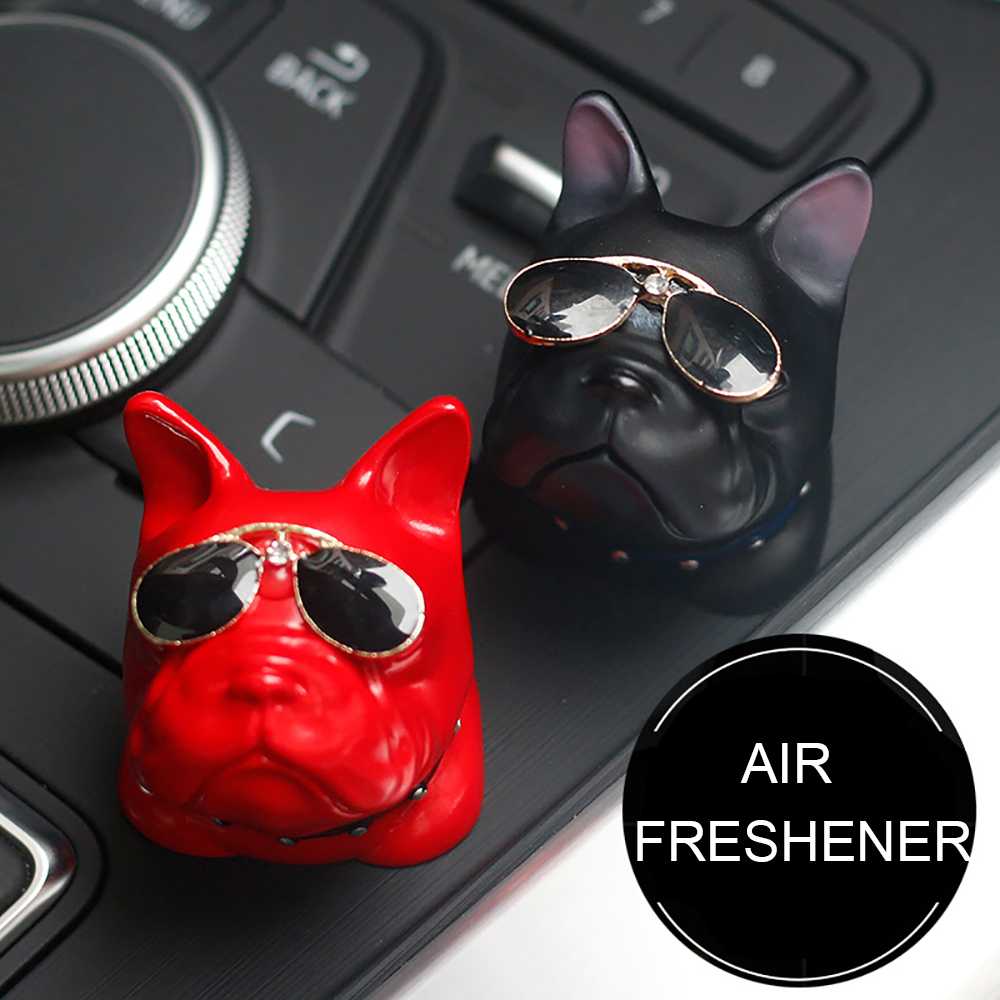 Car Air Freshener PVC Sunglasses French Bulldog Perfume Clip Cute Automobiles Outlet Vent Fragrance Smell Odor Diffuser Gifts glade car air outlet freshener liquid perfume fragrance jasmine flavour 6 8ml