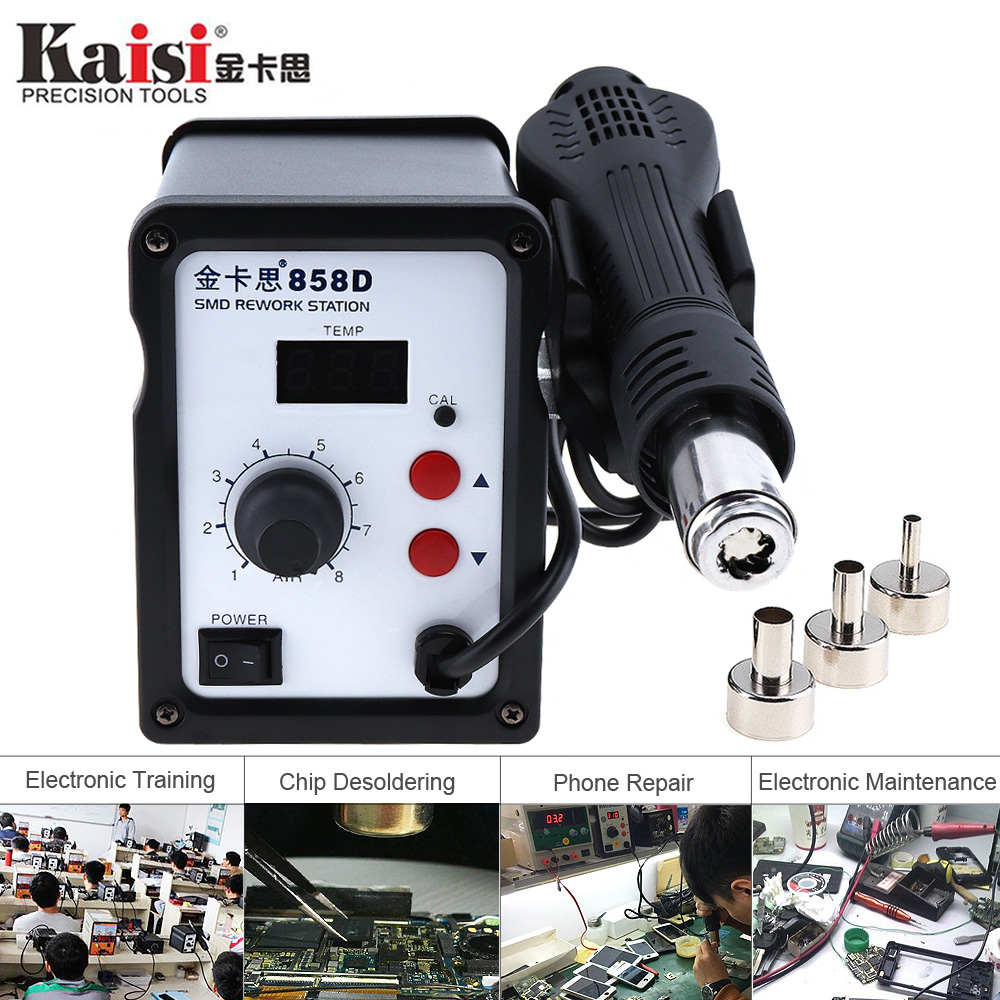 Kaisi 220V 700W SMD Hot Air Soldering Station LED Digital Display Support Controllable Temperature for Desoldering + Air Nozzles-in Electric Soldering Irons from Tools    1