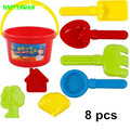HAPPYXUAN 8 pieces Kids Plastic Beach Bucket Set Water and Sand Play Toys High Quality Safe