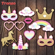 Tronzo 10PCS Unicorn Party Photo Booth Props Glitter Unicorn Head Mask 1st Birthday Party Decoration Photobooth Party Supplies
