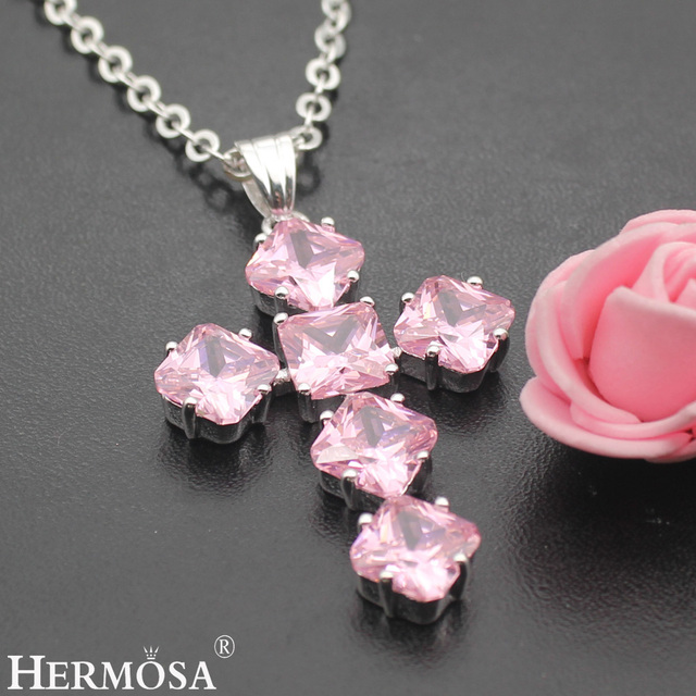 Hermosa Jewelry LuxuryGod Bless Crosses Pink Kunzite 925 Sterling Silver  Necklace Pendants 47MM-in Charms from Jewelry & Accessories on  Aliexpress com