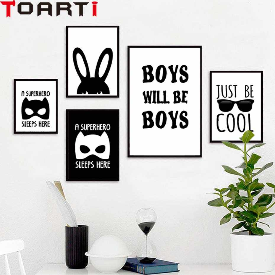 A Super-hero Sleeps Here Boys Cartoon Rabbit Mask Wall Art Canvas Poster For Kids Bedroom Modular Picture On Wall Painting Mural