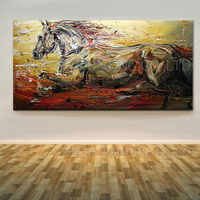 Skilled Artist Handmade High Quality Abstract Running Horse Oil Painting on Canvas Modern Knife Horse Painting for Living Room