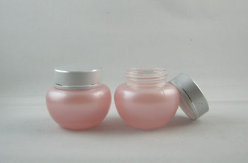 50pieces/lot wholesale 20g pink frosted glass cosmetic jar,20g glass cream container with silver cap ,glass eye cream jar