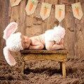 Банни крючком вязание комплект шляпа и пеленки фотографии реквизита ручной костюмы для новорожденных костюм 2016