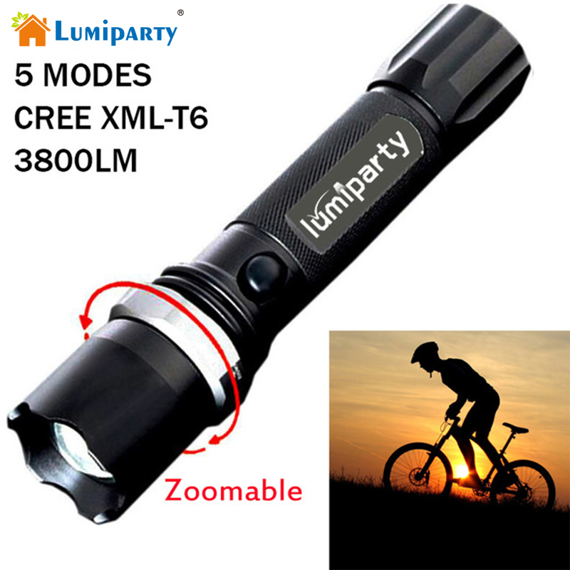 Lumiparty CREE XM-L T6 Led Flashlight Zoomable 3800Lumens Led Torch  Waterproof Tactical Flashlight lanterna for Camping Hiking 3000 lumens zoomable cree xm l t6 led tactical flashlight torch zoom lamp light waterproof led 5 modes for 1x18650 3xaaa