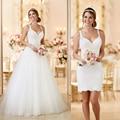 Custom Made Tulle Spaghetti Straps Zipper V Neck See Through Back 2 in 1 Wedding Dresses Detachable\Removable Skirt\Train