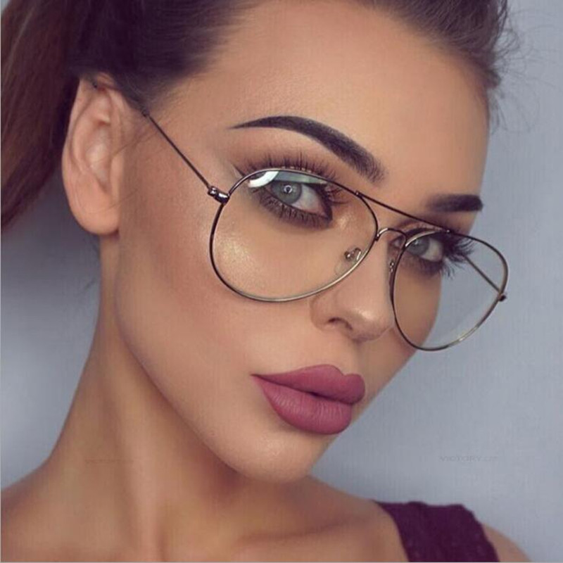 Fashion sexy women deck eyeglasses frame female Oversize Metal Computer Men Eyewear Pilot Spectacle Reading Glass