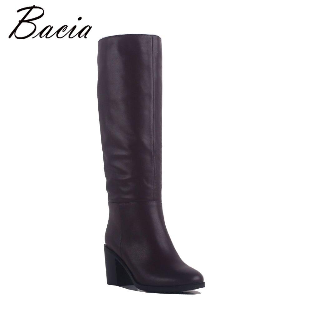 Bacia Woman Boots Full Grain Leather Women Long Boots  Wine Red 7.5cm Heels Height Handmade Fashion Spring&Autumn Shoes MC026 abb поворотный светорегулятор abb impuls для ламп накаливания 600 вт черный бриллиант