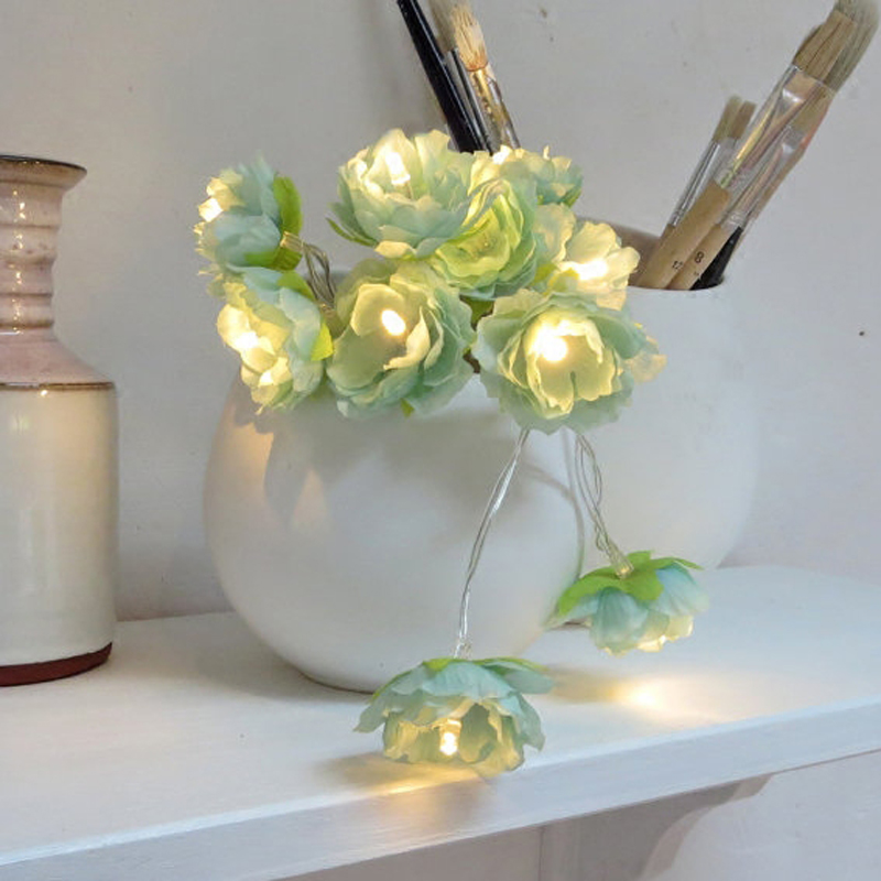 DIY Simple Artificial Flower arrangement For Wedding table Floral Starry Garland Turquoise String Light Wreath Living Room Decor