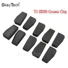 Okeytech 5pc 10 auto chave id20 transponder cerâmica id t5 20 chip de carbono em branco t5 clonável chip para chave do carro cópia cemamic carbono