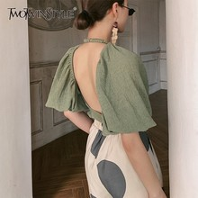 TWOTWINSTYLE Summer Backless Shirt For Women O Neck Puff Sleeve Lace Up Chiffon Blouse Female Fashion Clothes 2019 Korean