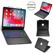 for iPad Pro 2018 12.9 Inch Bluetooth Keyboard Case Folio Stand 7 color Backlit Wireless 360 Degree Rotation Smart Sleep Tablet