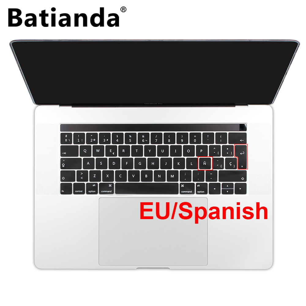 "Batianda EU Layout Spanish Keyboard Cover Sticker Skin For Macbook Pro 13 ""15"" Inch Touch ID and Bar 2016 2017 2018 A1706 A1990"