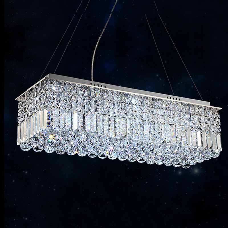 Long Size Rectangle Crystal Pendant Light Fitting Crystal Suspension Lamp For Dining Room
