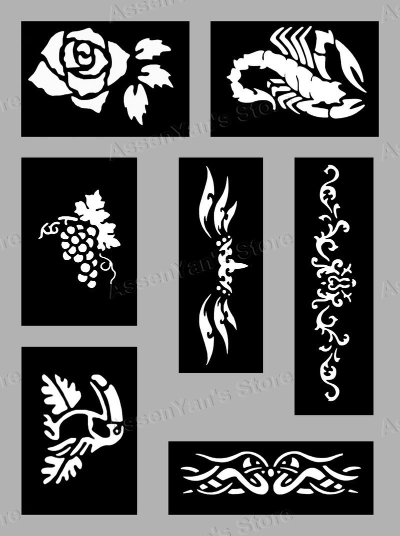 100pcs tattoo stencils for body art painting temporary glitter tattoo kit 100 sheets mixed. Black Bedroom Furniture Sets. Home Design Ideas