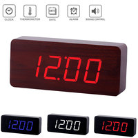 Originality Wooden Clock Digital LED Desktop Alarm Clock with Light Sale Hogard