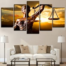 5 Piece With the Image Of Themis Goddess of Justice Painting Wall Art Framework Home Decor Modular Picture Canvas Print Poster(China)