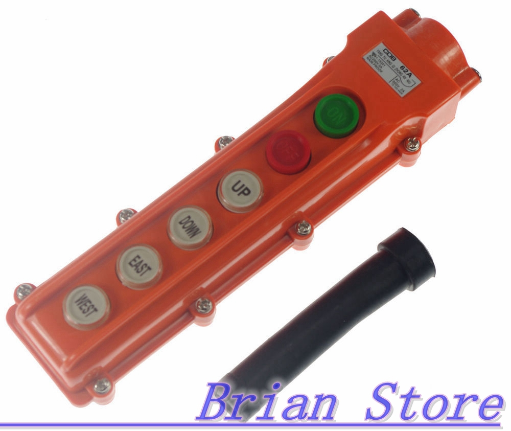 COB-62A For Hoist And Crane Pendant Control Station Push Button Switch 6 Ways uxcell 250v 5a 500v 2a 2 ways hoist crane push button switch orange momentary