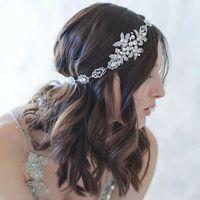 Elegant Silver Leaves Crystal Pearl Headband Bridal Hair Accessories Wedding Hairband Tiara Head Piece Fashion Wholesale