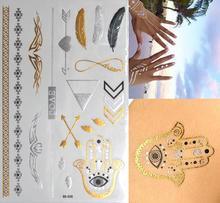 Fatima Hands Evil Eyes Metallic Tatoo Hot Fashion Many Graphics Metal Tattoos Stickers Temporary Tattoo Paste