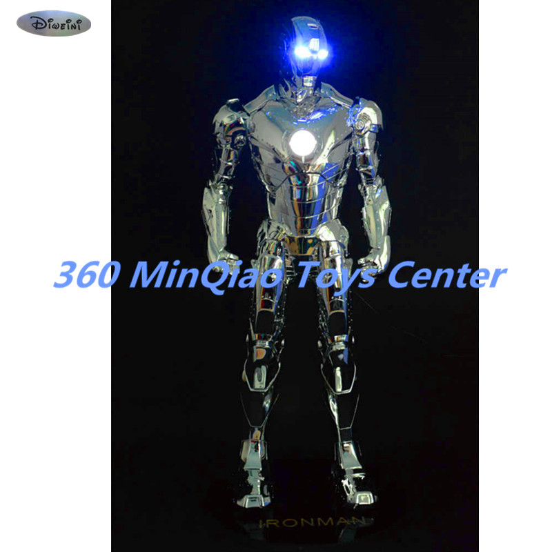 Statue Avengers 1:2 Iron Man Bust MK2 Head Portrait Metal Iron Man Avatar Electroplating Full-Length Portrait Model Toy WU835 statue avengers captain america 3 civil war iron man tony stark 1 2 bust mk33 half length photo or portrait with led light w216