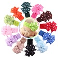 New 12 Colors Soft New Born Baby Headband Polka Dot Ribbon Baby Elastic Hair Band Children Hair Accessories FS021