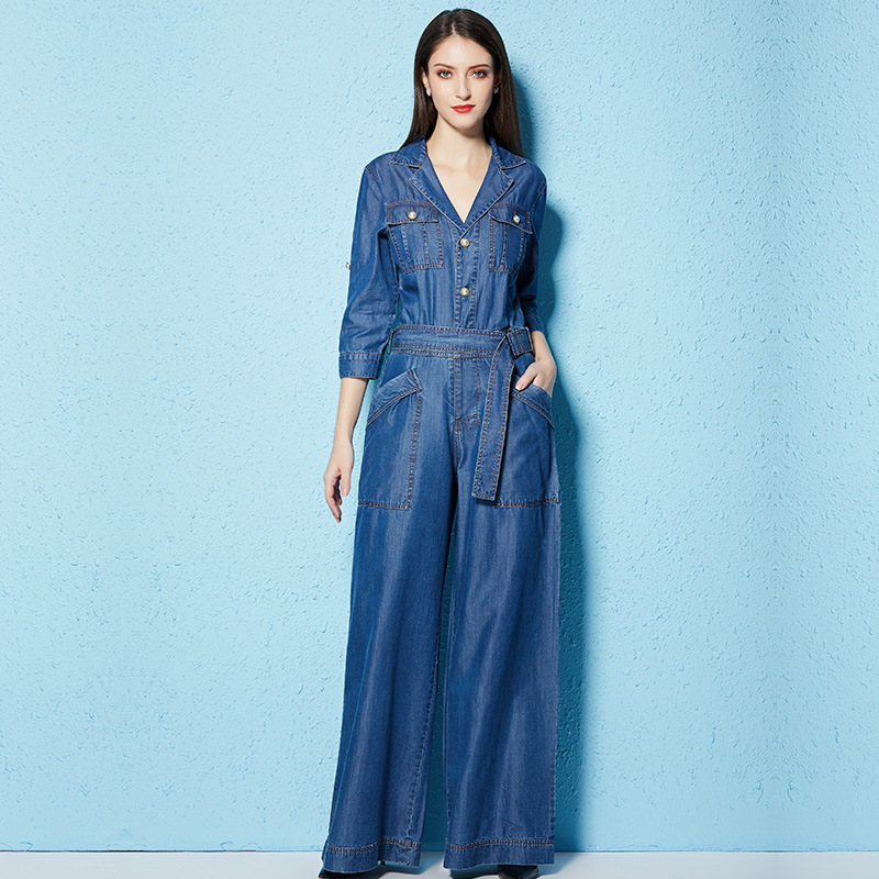 Весенне осенний стильный женский Модный комбинезон с завышенной талией, тонкие брюки с широкими штанинами из tencel ткани, комбинезон для женщ