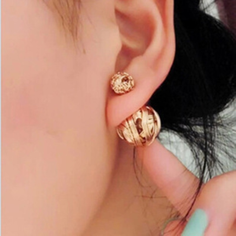 Fashion Brand Metal Braid Ball Shape Stud Earrings 3 Color Available Punk Style Party Jewelry