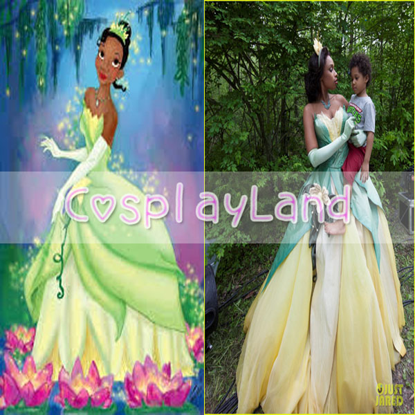 Deluxe Tiana Princess Cosplay Costume for Adults from the Princess and the  Frog Gown Princess Party
