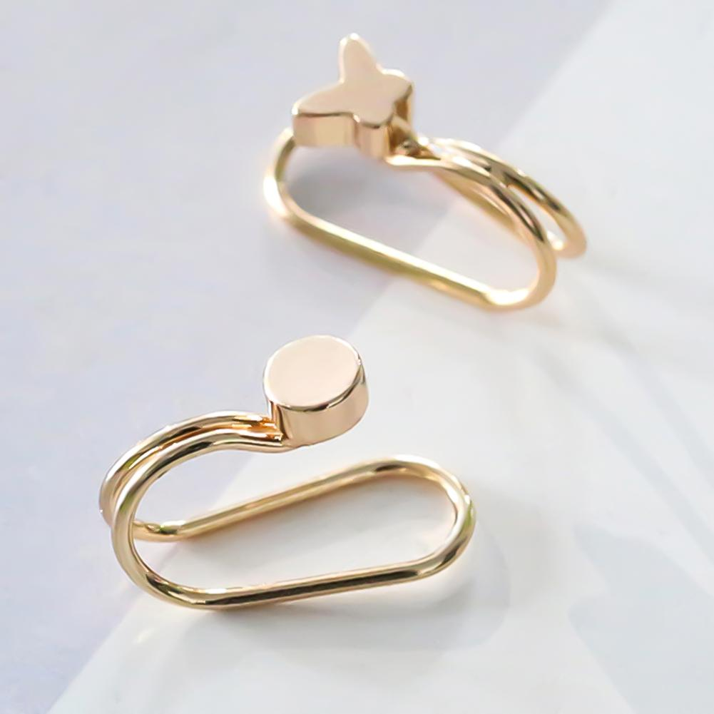 1Pc Earrings 2019 Creative Women Star Butterfly Round Ear Cuff Clip Mini Geometric Earrings For Women Earings(China)