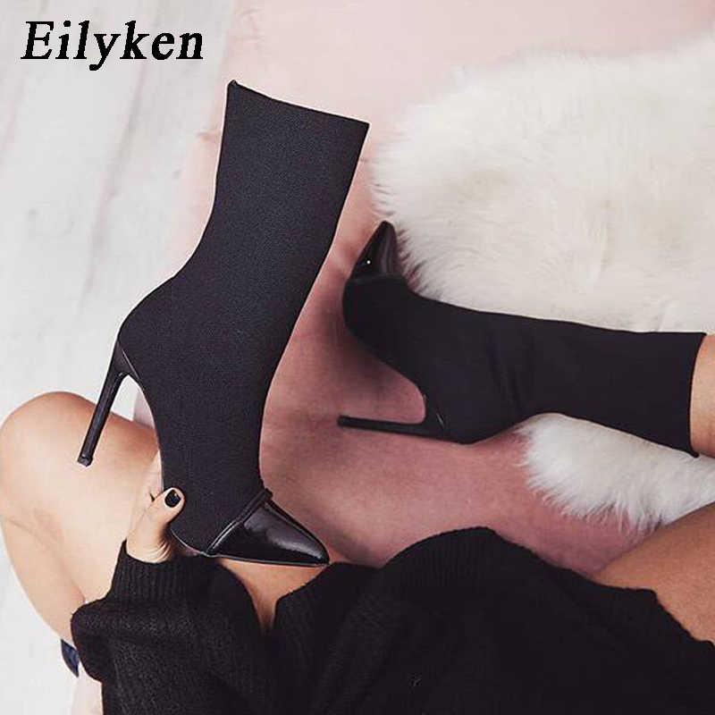 Eilyken 2020 yeni Arriva streç kumaş kadın yarım çizmeler sivri burun yüksek topuklu Slip-On seksi çorap topuklu Chelsea çizmeler size35- 42