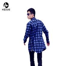 HZIJUE men streetwear shirts side zipper plaid Pockets hip hop flannel brand Tyga Camisetas masculinas tartan