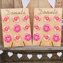 Wooden Wall Holds Donut Boards Shelf Birthday Party Decoration Creative Convenient Stand