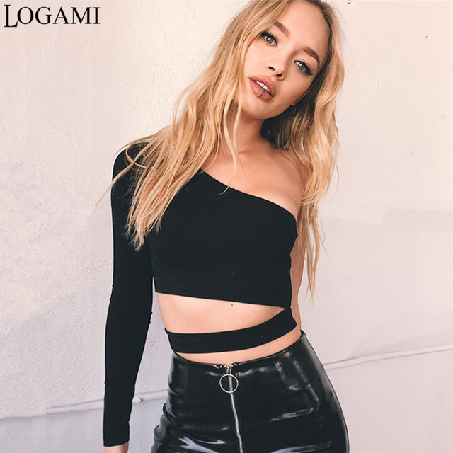 54a0b2fa308 LOGAMI One Shoulder Tops Sexy Top For Women Clubwear Crop Top Long Sleeve  Womens T Shirt