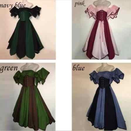 Plus Size Medieval Women\'s Vintage Victorian Gothic Dress Medieval  Renaissance Dress Gown Costume For Halloween Fantasy Party
