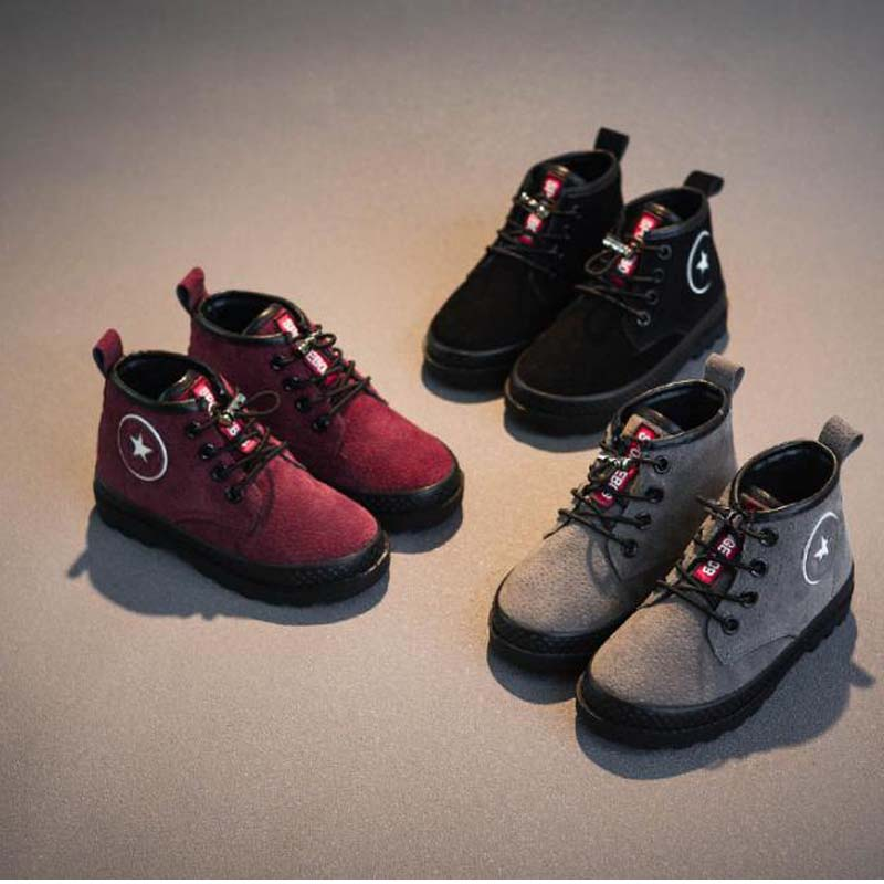 Winter kids snow boots boys girls Martin Lace-Up children add plush sneakers plus velvet thick casual shoes warm Waterproof