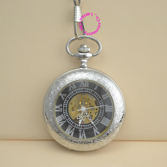 coupon for wholesale buyer price good quality vintage antique retro silver man hand wind mechanical chain pocket watch  hour silver mechanical pocket watch man smooth case open two vintage father stylish wind roman number hour good quality short chain