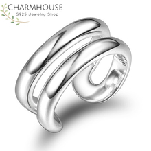 Wedding Bands 925 Silver Rings For Women Double Lines Finger Ring Adjustable Bague Anillos Bridal Jewelry Accessories Party Gift 925 sterling silver lucky cloud rings for women jewelry fashion opening adjustable finger ring lady gift bague femme