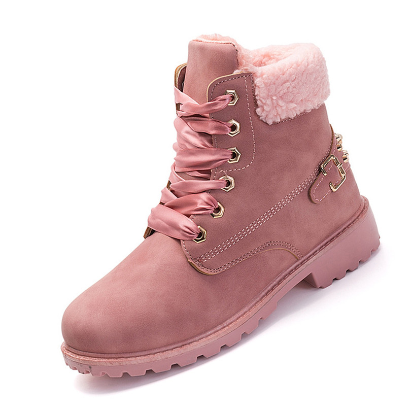 LIN KING New Warm Plush Women Winter Shoes Lace Up Ladies Rivets Martin Boots Cotton Padded Short Botas Solid Work Safety Boots