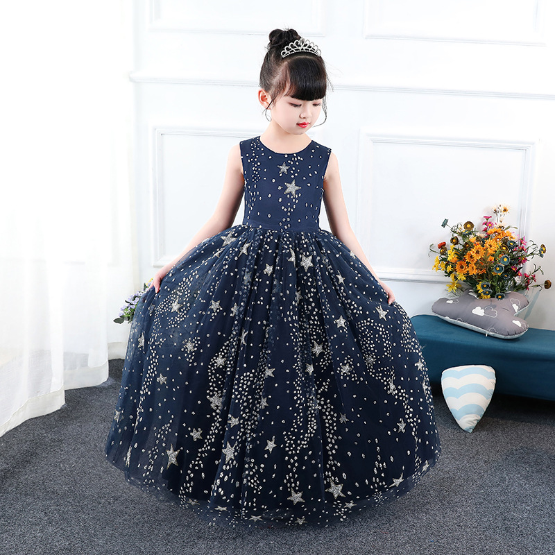 Princess Dress Stars Printed Floor Length Kids Pageant Dress for Birthday Party Sleeveless Flower Girl Dresses for Wedding B155 slit printed sleeveless pencil dress
